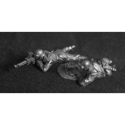 French Cavalry Motorcyclists / Infanterie Motorisee prone LMG team (2 Figures)