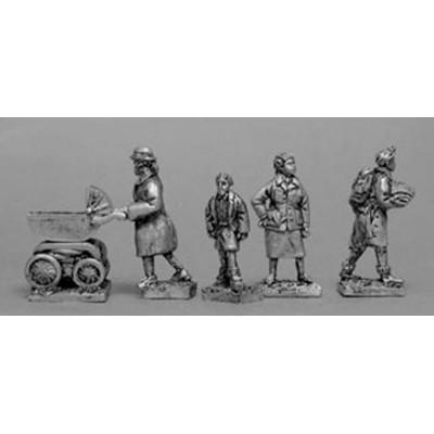 Three female civillians & boy (5 Figures)